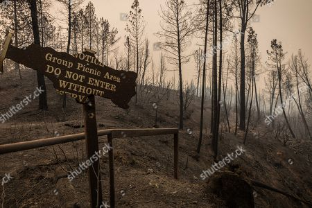The remnants of a group picnic sign in the Whiskey Creek Boat Launch and Picnic Area area sits in an area recently charred during the Carr Fire. The fire has burned more than 125,000 acres in the Redding, California, area and it is approximately 35% contained.