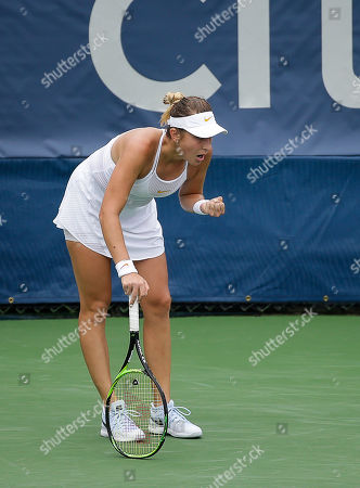 Belinda Bencic celebrates a point during a Citi Open tennis match at Rock Creek Park in Washington DC
