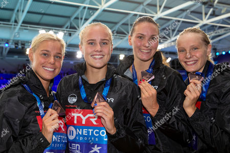 (L-R) Pernille Blume, Signe Bro, Mie OE. Nielsen and Julie Kepp Jensen of Denmark poses with their bronze medals after finishing third in the women's 4x100m Freestyle Relay Final at the Glasgow 2018 European Swimming Championships, Glasgow, Britain, 03 August 2018.