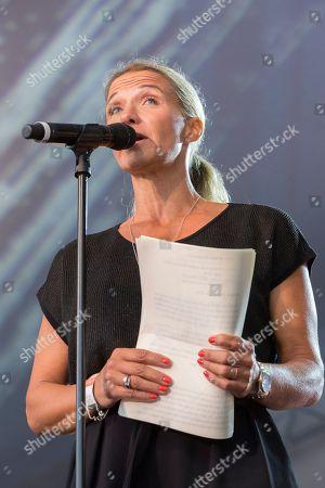 Stock Image of Kristin Kaspersen, speech to her late mother Barbro Svensson - Barbro Svensson