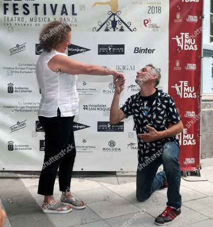 Stock Picture of Director of French Theater company Transe Express, Remi Allaigre (R), and Director of Temudas Theater festival, Marisol Garcia, offer a press conference to present the show 'Mu Cinematique des Fluides', in Las Palmas de Gran Canaria, Canary islands, Spain, 03 August 2018. The performance will close the 22nd edition of the festival the upcoming 04 August.