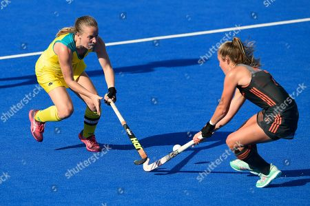 Xan de Waard of Netherlands and Emily Smith of Australia tackling for the ball