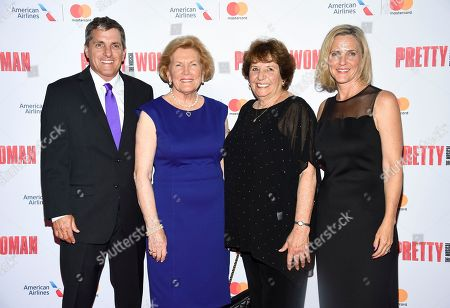 "Scott Marshall, Barbara Marshall, Ronny Hallin, Kathleen Marshall. Late director Garry Marshall's son Scott Marshall, left, wife Barbara Marshall, sister Ronny Hallin and daughter Kathleen Marshall attend a Garry Marshall tribute performance of ""Pretty Woman: The Musical"" at The Nederlander Theatre, in New York"