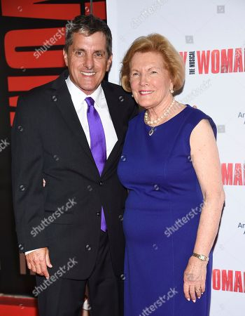 """Scott Marshall, Barbara Marshall. Late director Garry Marshall's son Scott Marshall, left, and widow Barbara Marshall attend a Garry Marshall tribute performance of """"Pretty Woman: The Musical"""" at The Nederlander Theatre, in New York"""