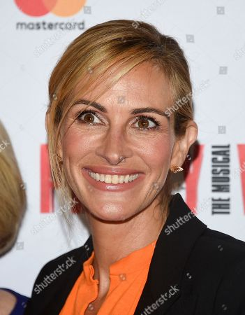 """Julia Roberts attends a Garry Marshall tribute performance of """"Pretty Woman: The Musical"""" at The Nederlander Theatre, in New York"""