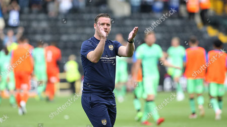 Notts County boss Kevin Nolan applauds the home crowd after a frustrating 0-0 draw to start the season.