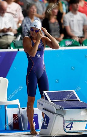 Pernille Blume of Denmark gets ready for her 50 meters freestyle women semifinal at the European Swimming Championships in Glasgow, Scotland