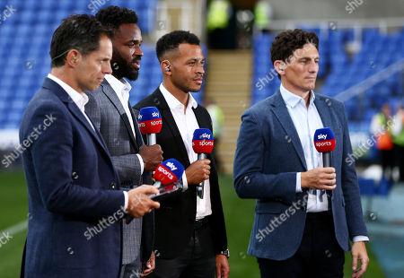 Sky Sports presenter Scott Minto (left) with pundits Darren Bent, Liam Rosenior and Keith Andrews.