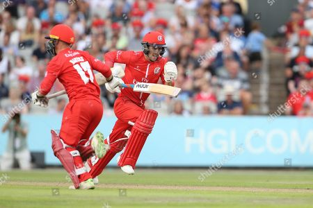 Lancashires Alex Davies & Lancashires Karl Brown during the Vitality T20 Blast North Group match between Lancashire Lightning and Leicestershire Foxes at the Emirates, Old Trafford, Manchester. Picture by George Franks