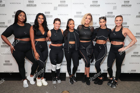 Editorial photo of Khloe Kardashian, Emma Grede and Gunnar Peterson celebrate the launch of Good American Activewear on the rooftop of Nordstrom Downtown Seattle, Seattle, USA - 03 August 2018