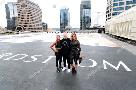 Editorial image of Khloe Kardashian, Emma Grede and Gunnar Peterson celebrate the launch of Good American Activewear on the rooftop of Nordstrom Downtown Seattle, Seattle, USA - 03 August 2018