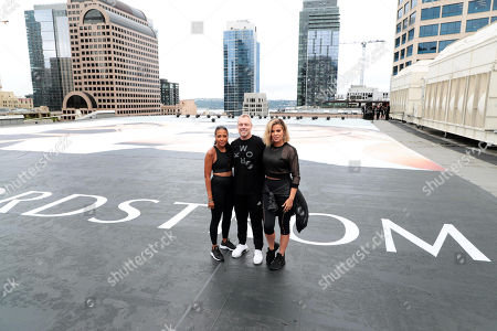 Editorial picture of Khloe Kardashian, Emma Grede and Gunnar Peterson celebrate the launch of Good American Activewear on the rooftop of Nordstrom Downtown Seattle, Seattle, USA - 03 August 2018