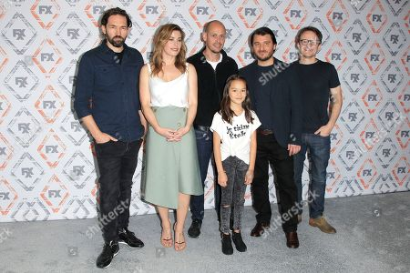 (L-R) Cast/creators Nash Edgerton, Brooke Satchwell, Scott Ryan, Chika Yasumura, Justin Rosniak, Damon Herriman of the show Mr Inbetween at the FX Summer TCA Starwalk at the Beverly Hilton Hotel in Beverly Hills, California, USA, 03 August 2018.