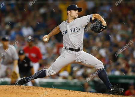 New York Yankees relief pitcher David Robinson pitches during the sixth inning of the MLB baseball game between the New York Yankees and Boston Red Sox at Fenway Park in Boston, Massachusetts, USA, 03 August 2018.