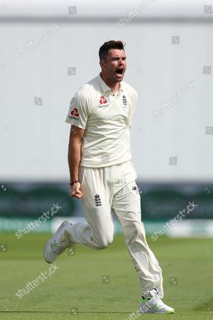 James Anderson of England celebrates taking the wicket of Dinesh Karthik