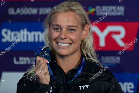 Pernille Blume of Denmark poses with her Silver medal after finishing second in the women's 50m Freestyle Final at the Glasgow 2018 European Swimming Championships, Glasgow, Britain, 04 August 2018.