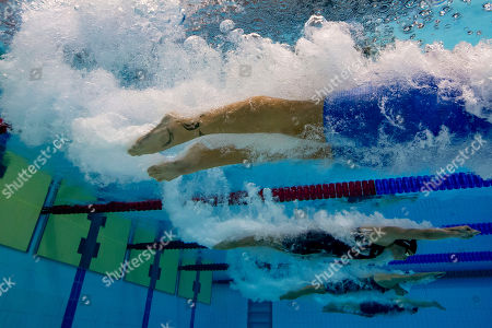 Ruta Meilutyte of Lithuania and Jessica Vall Montero of Spain compete in the women's 100m Breaststroke Semifinal at the Glasgow 2018 European Swimming Championships, Glasgow, Britain, 04 August 2018.