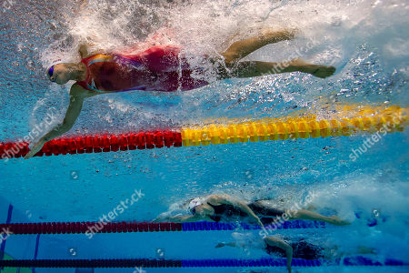 Pernille Blume of Denmark on her way finishing second in the women's 50m Freestyle Final at the Glasgow 2018 European Swimming Championships, Glasgow, Britain, 04 August 2018.
