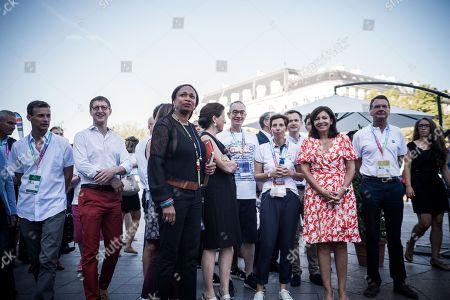 Laura Flessel (Ministre des Sports), Agnes Buzyn (Ministre de la Sante), Manuel Picaud (co-president des Gay Games Paris), Pacale Reinteau (co-Directrice des Gay Games), Jean-Luc Romero and Anne Hidalgo