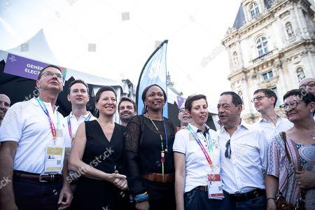 Laura Flessel (Ministre des Sports), Agnes Buzyn (Ministre de la Sante), Manuel Picaud (co-president des Gay Games Paris), Pacale Reinteau (co-Directrice des Gay Games), Jean-Luc Romero