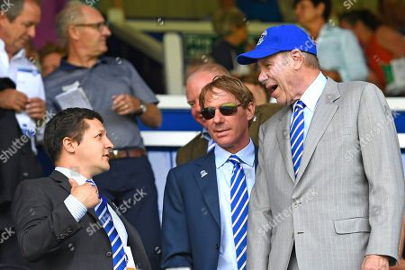 Portsmouth Owner Michael Eisner right with son Eric centre during Portsmouth vs Luton Town, Sky Bet EFL League 1 Football at Fratton Park on 4th August 2018