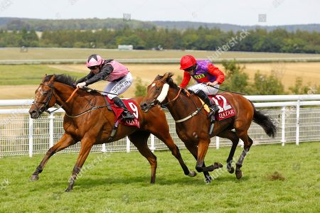 Stock Image of Sir Chauvelin and Robert Winston win the Qatar Summer Handicap at Goodwood to complete a double for trainer Jim Goldie.