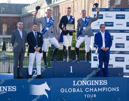 Peder Fredricson (SWE), Scott Brash (GBR) and Ludger Bierbaum (GER) on the podium after the presentation for the Longines Champions Tour Grand Prix