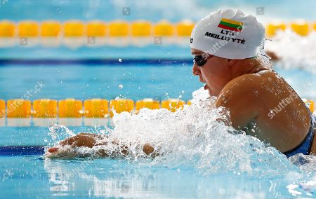 Stock Image of Ruta Meilutyte of Lithuania competes in a 100 meters breaststroke women semifinal at the European Swimming Championships in Glasgow, Scotland