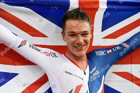 Ethan Hayter of Great Britain wins gold in the Mens Track cycling Omnium Points race at the Glasgow 2018 European  Championships, Glasgow, Britain, 04 August 2018.