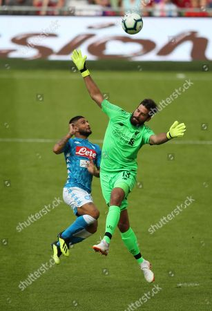 Liverpool Goalkeeper Alisson Becker  saves from Lorenzo Insigne from Napoli