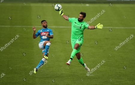 Stock Photo of Liverpool Goalkeeper Alisson Becker  saves from Lorenzo Insigne from Napoli