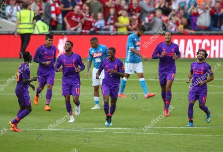 Georginio Wijnaldum of Liverpool centre celebrates 2nd goal 2-0