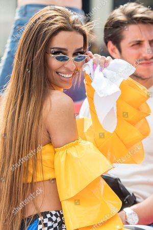 Eleni Foureira during the Canal Parade through the Canals of Amsterdam, during the Gay Pride. The parade is the main event of the Amsterdam Gay Pride, a festival of lesbian, gay, bisexual and transgender (LGBT) rights and culture.
