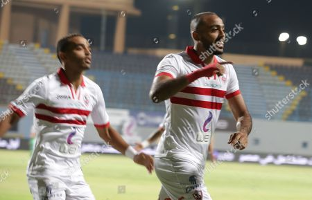 Zamalek player Kahraba  (R) celebrates during  the Egyptian Premier League football match  between Zamalek and Al-Ittihad  in Cairo, Egypt, 04 August 2018.