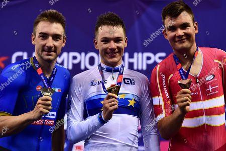 Ethan Hayter of Great Britain wins gold, Elia Viviani of Italy wins silver and Casper Von Folsach of Denmark