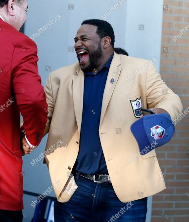 Former Pittsburgh Steeler Jerome Bettis arrives for the Pro Football Hall of Fame inductions, in Canton, Ohio