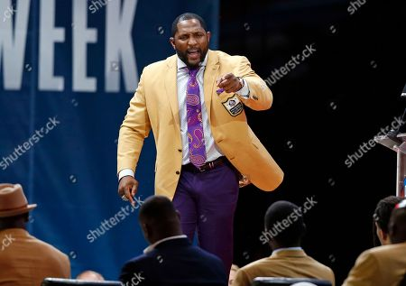 Brett Favre. Former NFL player Ray Lewis delivers his speech during an induction ceremony at the Pro Football Hall of Fame, in Canton, Ohio