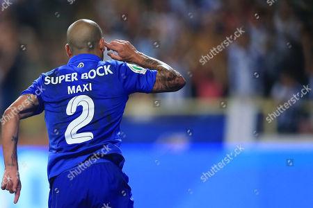 Fc Porto?s Maxi Pereira celebrates after scoring a goal against Desportivo das Aves during the Portuguese Candido de Oliveira Supercup soccer match, held at Aveiro Municipal Stadium, in Aveiro, Portugal, 04 August 2018.