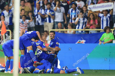 FC Porto?s Maxi Pereira (C), celebrates with his teammates after scoring a goal against Desportivo das Aves during the Portuguese Candido de Oliveira Supercup soccer match, held at Aveiro Municipal Stadium, in Aveiro, Portugal, 04 August 2018.