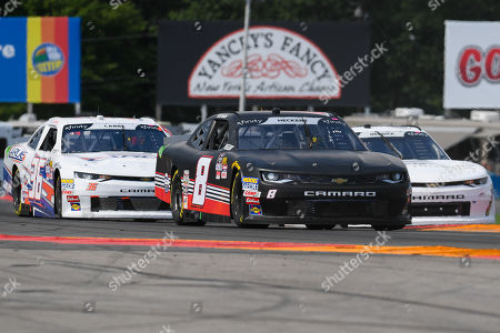 NASCAR Xfinity Series driver Scott Heckert (8) leads a group of cars during the NASCAR XFINITY Series Zippo 200 at The Glen on at Watkins Glen International in Watkins Glen, New York