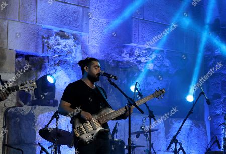 Members of the Jordanian band Guitanai perform during the first part of Emel Mathlouthi concert at the Jordan Festival at the Odeon Theater in Amman, Jordan, late 04 August 2018. Jordan festival takes place between 02 and 08 August.The band plays in Amman and festivals in the Middle East region, its name comes from the combination of its two main instruments the Nai flute and the guitar.