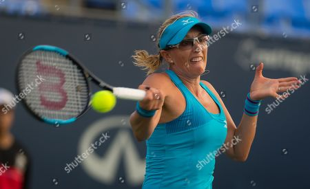 Anastasia Rodionova of Australia in action during qualifications at the 2018 Coupe Rogers WTA Premier 5 tennis tournament