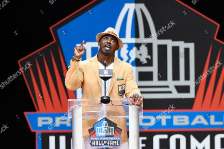Former NFL safety Brian Dawkins delivers his induction speech at the Pro Football Hall of Fame, in Canton, Ohio