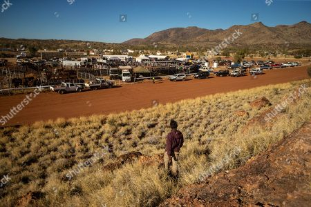 The race track and rodeo arena is seen from the natural amphitheatre during the 71st annual Harts Range Races and Rodeo, approximately 215 km East of Alice Springs, Northern Territory, Australia, 04 August 2018 (issued 05 August 2018). Cut out of the bush of Mt. Riddock Station by The Webb brothers, The Harts Range track has been a mainstay of the Central Australian Pastoral communities since 1947. Unregistered station horses, local ringers, mounted police and Atitjere community members race, rodeo and revel in the bush skills they use every day with most of the money generated going to charity.