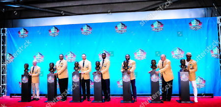 th, Class of 2018 Pro Football Hall of Famer Bobby Beathard, Brian Dawkins, Brian Urlacher, Jerry Kramer, Randy Moss, Ray Lewis, Robert Brazile during the Enshrinement Ceremony at Tom Benson Hall of Fame Stadium in Canton, Ohio