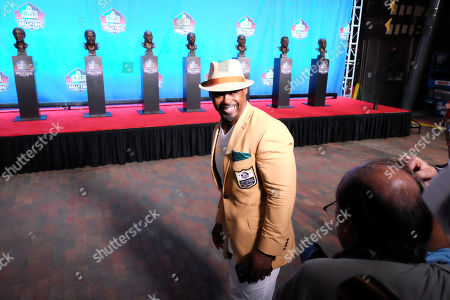 th, Class of 2018 Pro Football Hall of Famer Brian Dawkins during the Enshrinement Ceremony at Tom Benson Hall of Fame Stadium in Canton, Ohio