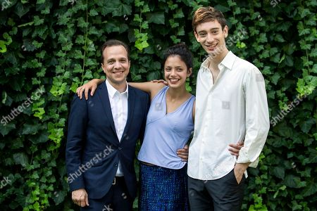 Canadian director Philippe Lesage (L), French actress Noee Abita and Canadian actor Theodore Pellerin 'Genese' at the 71st Locarno International Film Festival, in Locarno, Switzerland, 05 August 2018. The Festival del film Locarno 2018 runs from 01 to 11 August.
