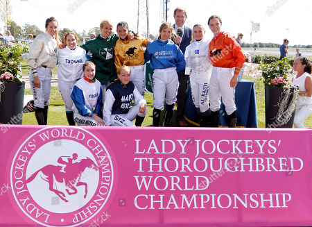 Stock Picture of Jockeys for the Lady Jockeys Thoroughbred World Championship with Derek Thompson Bro Park Sweden