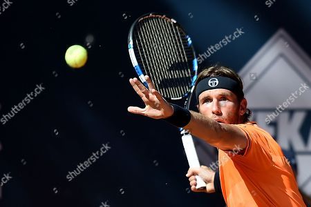 Stock Photo of Daniel Gimeno-Traver of Spain in action against Paolo Lorenzi of Italy during their final match at the Challenger ATP Sopot Open tennis tournament in Gdynia, Poland, 05 August 2018.