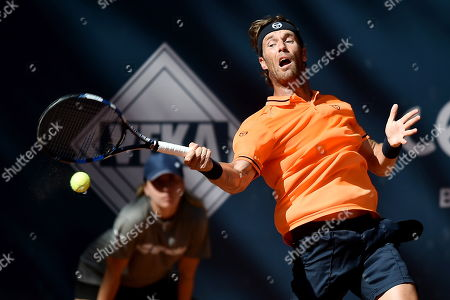 Daniel Gimeno-Traver of Spain in action against Paolo Lorenzi of Italy during their final match at the Challenger ATP Sopot Open tennis tournament in Gdynia, Poland, 05 August 2018.